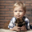 Boy with puppy. — Stock Photo #40926109