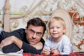 Portrait Of Happy Father with his to kid — Stock Photo