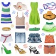 Stock Photo: Collection summer clothes