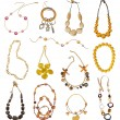 Collection of gold necklaces — Stock Photo #18998977