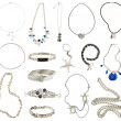 Collection of silver jewelery — Stock Photo