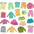 Collection of children's clothing - Stock Photo