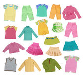 Collection of children's clothing — Stock Photo