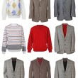 Collection of men's jackets — Stock Photo