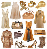 Collection of gold dress — Stock Photo