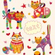 Greeting card with beautiful cats — Stockvectorbeeld