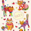 Stock Vector: Greeting card with beautiful cats