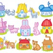 Animal houses (vector illustration) — Stock Vector