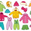 Collection of winter children's clothing — Stock Vector