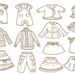 Collection of children's clothing — Stock Vector