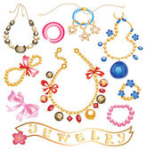 Collection of gold jewelery with precious stones (vector illustr — Vetorial Stock