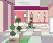 Hall in a modern shopping center (vector illustration) — Stock Vector