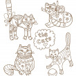 Greeting card with cats (coloring book) — Stock Vector