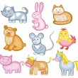 Set of vector animal (isolated on white background) — ベクター素材ストック