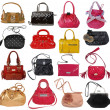 Collection of women's handbags isolated on white — Stock Photo