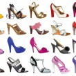 Collection of women's shoes isolated on white — Stock Photo