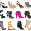 Stock Photo: Collection of women's shoes isolated on white