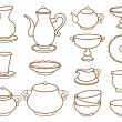 Collection of porcelain tableware for tea (coloring book) — Stock Vector