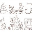 Set of Christmas illustration with Santa Claus and reindeer (col — Stock Vector