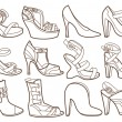 Fashion shoes collection (coloring book) — Stock Vector