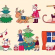 Christmas with Santa, reindeer and children (vector illustration — Stock Vector