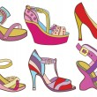 Collection of fashionable women's shoes (vector illustration) — Stock Vector #38357923