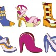 Collection of fashionable women's shoes (vector illustration) — Stock Vector #38357927