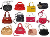 Collection of women's handbags isolated on white — ストック写真