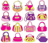 Collection of fashionable women's bags (vector illustration) — Stock Vector