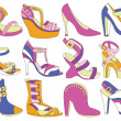 Collection of fashionable women's shoes (vector illustration) — Stock Vector