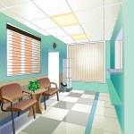 Green hall of hospital (vector illustration) — Stock Vector #39844275