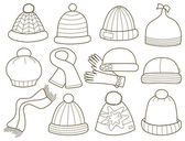 Collection of fashionable caps (vector illustration) — Stock Vector