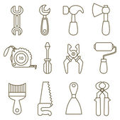 Set of working tools icons (coloring book) — Stock Vector