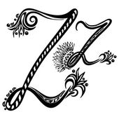 Letter Z z in the style of abstract floral pattern on a white background — Stock Vector