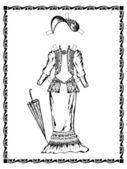 Uitvoer vintage jurk met een hoed. zie andere vintage outfits en pop in mijn portefeuille — Stockvector