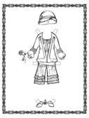 Robe vintage avec un chapeau de sortie. 20-30 ans — Vecteur