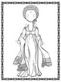 Utgång vintage klänning med jacka, mössa-shute, sjal. historisk kostym. empirestil — Stockvektor