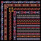 Telaio, pennello, modello con elementi decorativi vorticosi della tessitura. — Vettoriale Stock