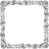 Design frame with swirling floral decorative ornament. Black and white — Stock Vector