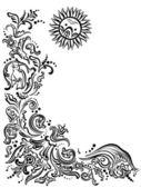 Nero immagine astratta di un giardino, una carta con fiori ornamento, sole — Vettoriale Stock