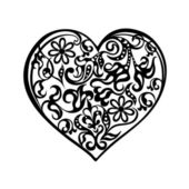 Heart tattoo black. — Stock Vector
