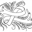 Calligraphic swirling decorative elements. Ribbon — Imagen vectorial