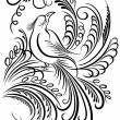 Image of a bird. Calligraphy swirling elements - Векторная иллюстрация