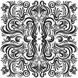 Design pattern with swirling floral decorative ornament — Векторная иллюстрация