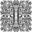 Design pattern with swirling floral decorative ornament — Stockvectorbeeld