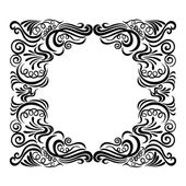 Design frame with swirling decorative elements. — Stock Vector