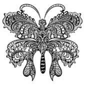 Butterfly with swirling decorative ornament. — Vector de stock