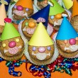 Homemade funny clown muffins — Stock fotografie #32242547