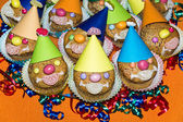 Homemade funny clown muffins — Stock Photo