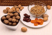 Walnut balls truffles candy with dried apricots, dates — Stock Photo